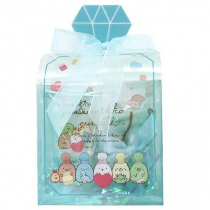 小禮堂 角落生物 條狀保濕護手霜 附方巾 香氛護手乳 手帕 透明盒裝 (綠 香水瓶)