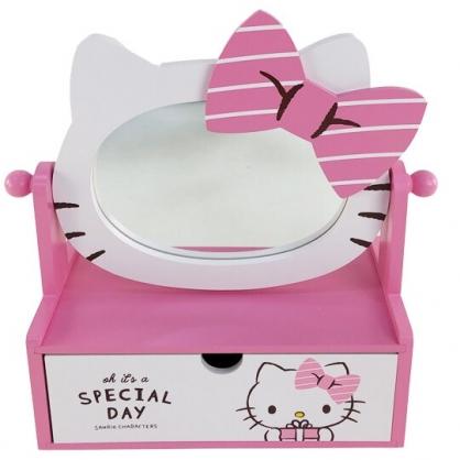 小禮堂 Hello Kitty 造型木質抽屜盒 附鏡 化妝鏡盒 收納鏡盒 飾品盒  (粉 大臉)