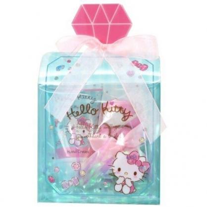 小禮堂 Hello Kitty 條狀保濕護手霜 附方巾 香氛護手乳 手帕 透明盒裝 (綠 香水瓶)