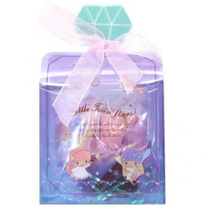 小禮堂 雙子星 條狀保濕護手霜 附方巾 香氛護手乳 手帕 透明盒裝 (紫 香水瓶)