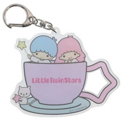 小禮堂 雙子星 日製 造型壓克力鑰匙圈 透明鑰匙圈 壓克力吊飾 (粉 咖啡杯)