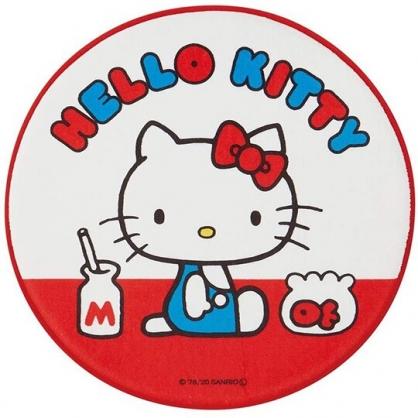小禮堂 Hello Kitty 圓形絨毛吸水腳踏墊 止滑地墊 浴室地墊 地毯 (紅白 側坐)