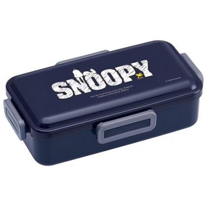 小禮堂 史努比 日製 方形微波便當盒 四扣便當盒 塑膠便當盒 保鮮盒 830ml Ag+ (深藍 LOGO)