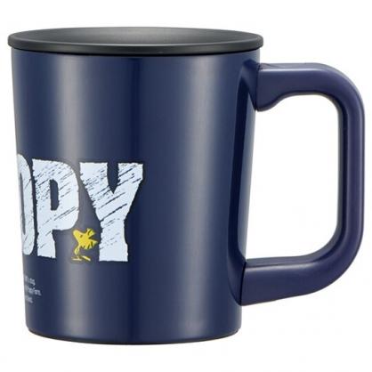 小禮堂 史努比 單耳不鏽鋼杯 附蓋 保溫馬克杯 咖啡杯 保溫杯  260ml (深藍 LOGO)