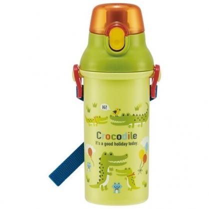 小禮堂 鱷魚 日製 直飲式水壺 附背帶 塑膠水瓶 兒童水壺 隨身瓶 480ml Ag+ (綠 汽球)