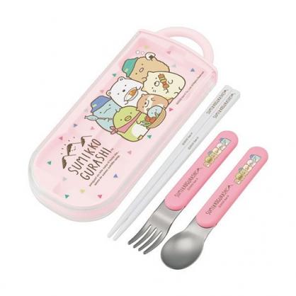 小禮堂 角落生物 日製 滑蓋三件式餐具組 叉匙筷 兒童餐具 環保餐具 Ag+ (粉 露營)
