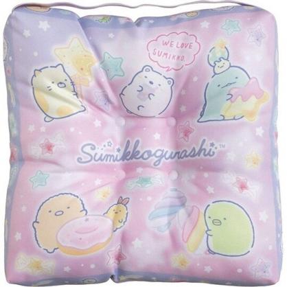 小禮堂 角落生物 方形束帶棉質椅墊 座靠墊 坐墊 靠枕 抱枕  32x32cm (紫 糖果)