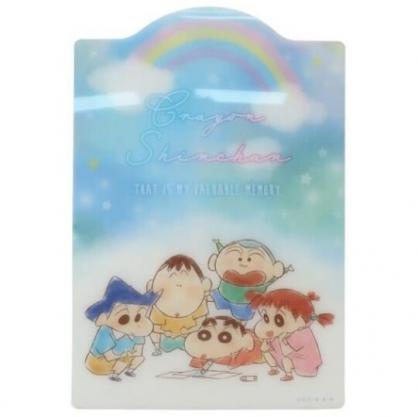 小禮堂 蠟筆小新 日製 B5造型硬墊板 透明墊板 塑膠桌墊 寫字墊 (藍 彩虹)