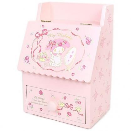 小禮堂 美樂蒂 木質掀蓋單抽化妝鏡盒 收納鏡盒 化妝品盒 抽屜盒 (粉 緞帶)