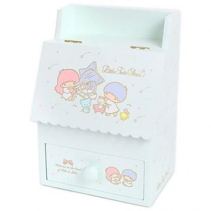 小禮堂 雙子星 木質掀蓋單抽化妝鏡盒 收納鏡盒 化妝品盒 抽屜盒 (綠 星星)