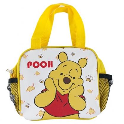 小禮堂 迪士尼 小熊維尼 方形皮質手提便當袋 野餐袋 手提袋 便當提袋 (黃 摸臉)