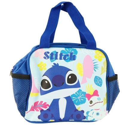 小禮堂 迪士尼 史迪奇 方形皮質手提便當袋 野餐袋 手提袋 便當提袋 (藍 花朵)