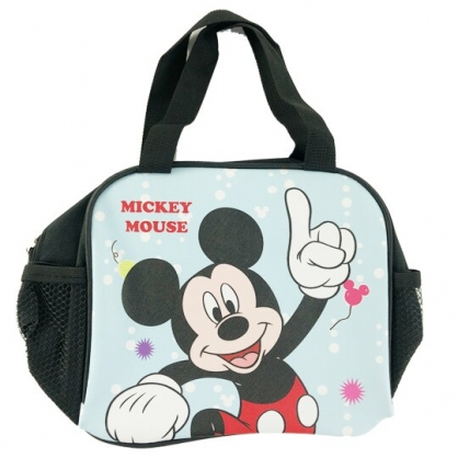 小禮堂 迪士尼 米奇 方形皮質手提便當袋 野餐袋 手提袋 便當提袋 (黑 舉手)