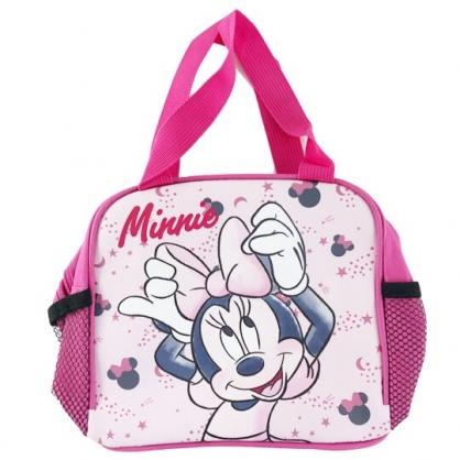 小禮堂 迪士尼 米妮 方形皮質手提便當袋 野餐袋 手提袋 便當提袋 (桃 舉手)