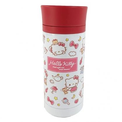 小禮堂 Hello Kitty 旋轉蓋不鏽鋼保溫瓶 兒童水壺 隨身瓶 350ml (紅白 睡覺)