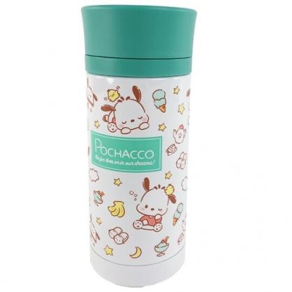 小禮堂 帕恰狗 旋轉蓋不鏽鋼保溫瓶 兒童水壺 隨身瓶 350ml (綠白 睡覺)