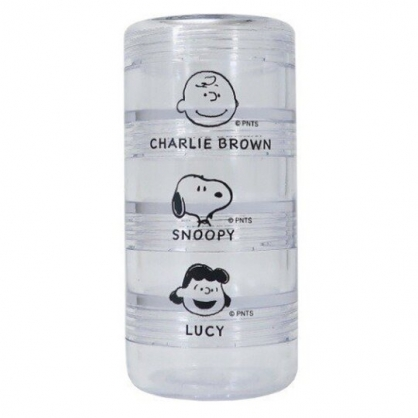 小禮堂 史努比 日製 圓形四層透明空盒 隨身藥盒 乳液盒 分裝盒 (大臉)