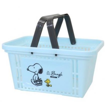 小禮堂 史努比 塑膠手提置物籃 購物提籃 浴室收納籃 瓶罐架 (藍 走路)