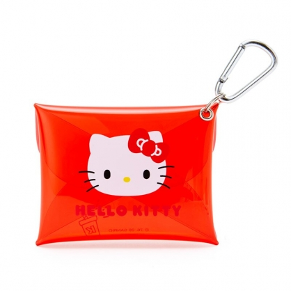 小禮堂 Hello Kitty 扣式防水零錢包 透明零錢包 掛飾零錢包 信封包 (紅 大臉)