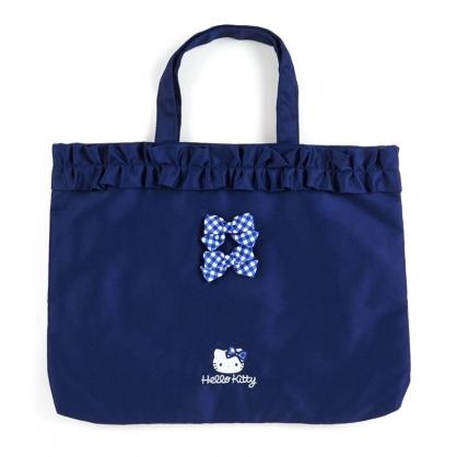 小禮堂 Hello Kitty 日製 橫式帆布手提袋 帆布托特包 書袋 補習袋 (藍 荷葉邊)