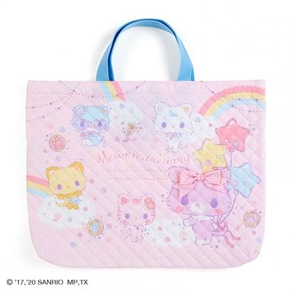 小禮堂 甜夢貓 日製 橫式厚棉手提袋 厚棉托特包 書袋 補習袋 (粉 菱格紋)