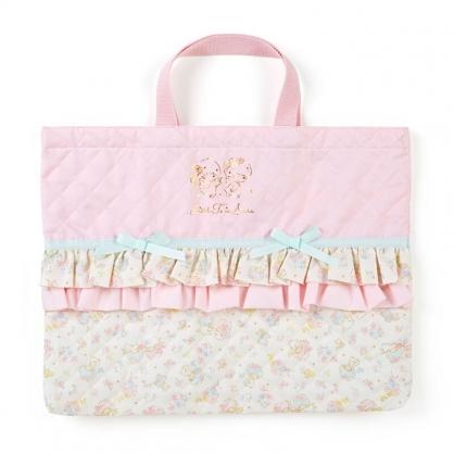 小禮堂 雙子星 日製 橫式厚棉手提袋 厚棉托特包 書袋 補習袋 (粉 菱格紋)