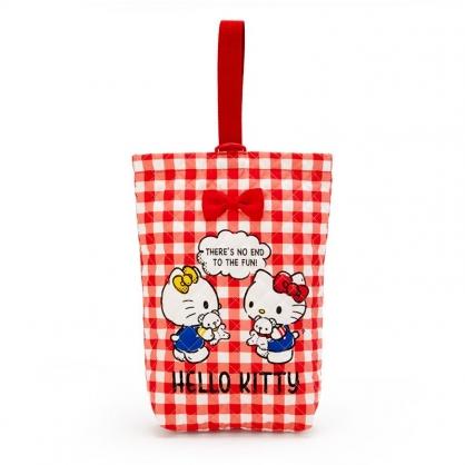 小禮堂 Hello Kitty 日製 厚棉手提鞋袋 衣物收納袋 鞋收納袋 手提袋 (紅 菱格紋)