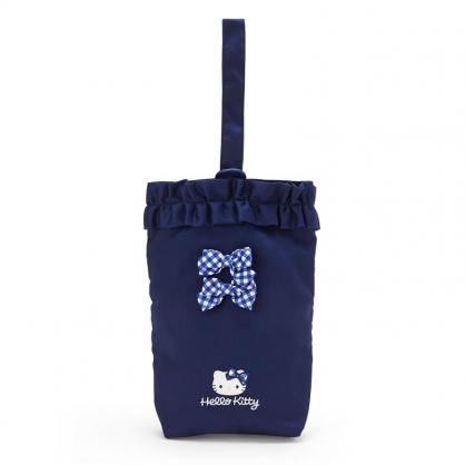 小禮堂 Hello Kitty 日製 帆布手提鞋袋 衣物收納袋 鞋收納袋 手提袋 (藍 荷葉邊)