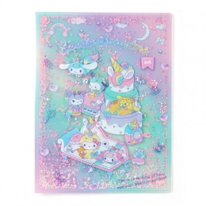 小禮堂 Sanrio A4雙開式文件夾 資料夾 檔案夾 L夾 (綠紫 糖果獨角獸)