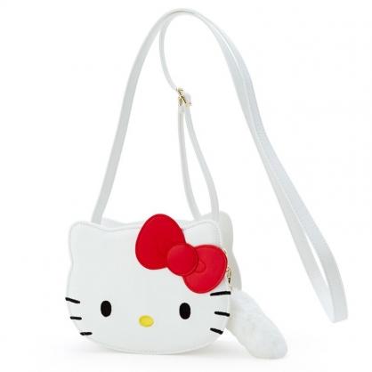 小禮堂 Hello Kitty 造型皮質斜背包 附吊飾 皮質背包 隨身背包 小包包 (白 大臉)