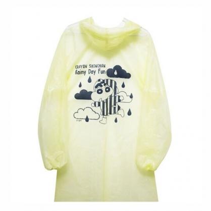 小禮堂 蠟筆小新 成人輕便雨衣 連帽雨衣 連身雨衣 防風雨衣 155~180cm (黃 下雨)