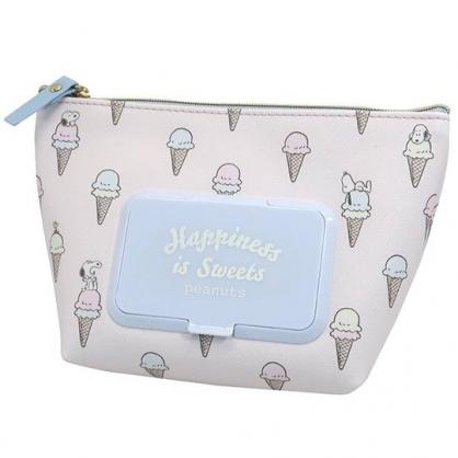 小禮堂 史努比 船形皮質濕紙巾收納包 抽取式紙巾包 面紙化妝包 (米 冰淇淋)