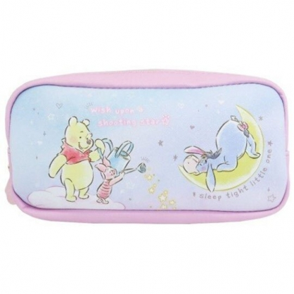 小禮堂 迪士尼 小熊維尼 方形皮質拉鍊筆袋 皮質筆袋 鉛筆盒 鉛筆袋 (粉藍 月亮)