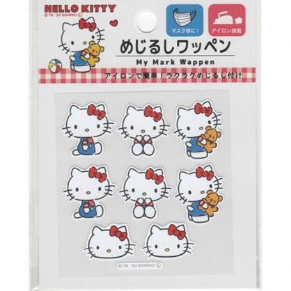 小禮堂 Hello Kitty 日製 造型燙布貼組 口罩裝飾貼 刺繡布貼 衣服燙貼 布飾 (紅 小熊)