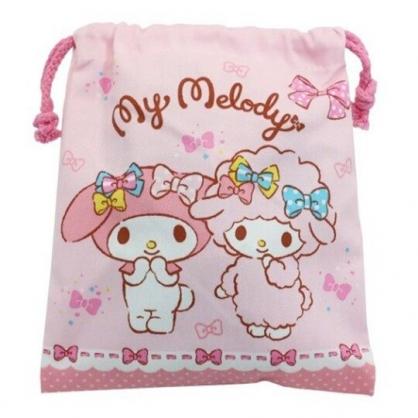 小禮堂 美樂蒂 棉質束口袋 旅行收納袋 小物袋 縮口袋 (粉 緞帶)
