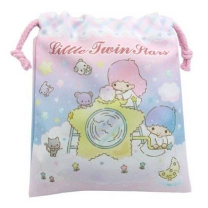 小禮堂 雙子星 棉質束口袋 旅行收納袋 小物袋 縮口袋 (粉 星星機)