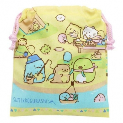 小禮堂 角落生物 棉質束口袋 旅行收納袋 小物袋 縮口袋 (黃 露營)