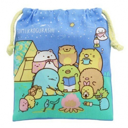 小禮堂 角落生物 棉質束口袋 旅行收納袋 小物袋 縮口袋 (藍 露營)