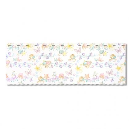小禮堂 雙子星 日製 棉麻短門簾 窗簾 遮光簾 45x120cm (白 紫花)