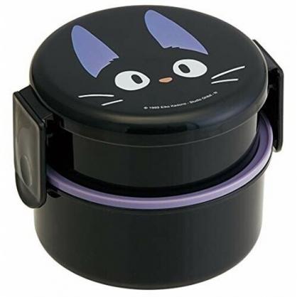 小禮堂 魔女宅急便 日製 圓形雙層微波便當盒 雙扣便當盒 塑膠便當盒 保鮮盒 500ml (黑 KIKI)