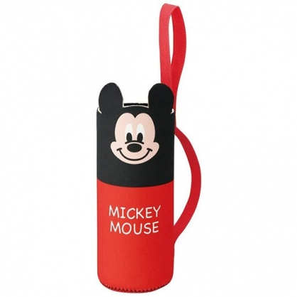 小禮堂 迪士尼 米奇 造型潛水布水壺套 環保杯袋 飲料杯袋 600ml (紅 大臉)