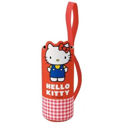 小禮堂 Hello Kitty 造型潛水布水壺套 環保杯袋 飲料杯袋 600ml (紅 格紋)