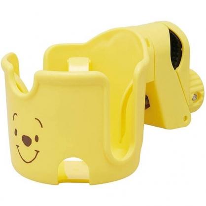 小禮堂 迪士尼 小熊維尼 嬰兒車用飲料杯架 旋轉杯架 寶特瓶架 夾式杯架 (黃 大臉)