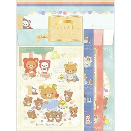 小禮堂 懶懶熊 日製 信紙組 直式卡片 萬用卡片 便條紙 信封 (黃綠 童話)