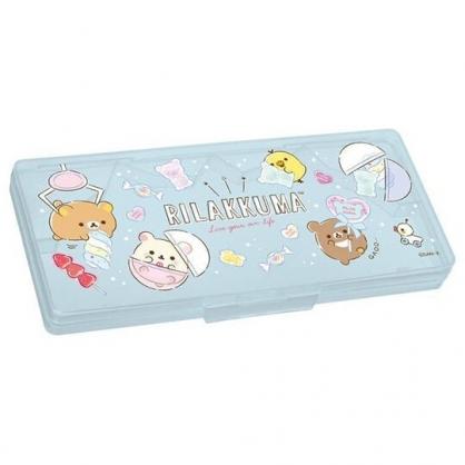 小禮堂 懶懶熊 盒裝塑膠圓規組 直尺 三角板 量角器 繪圖工具 (藍 扭蛋)
