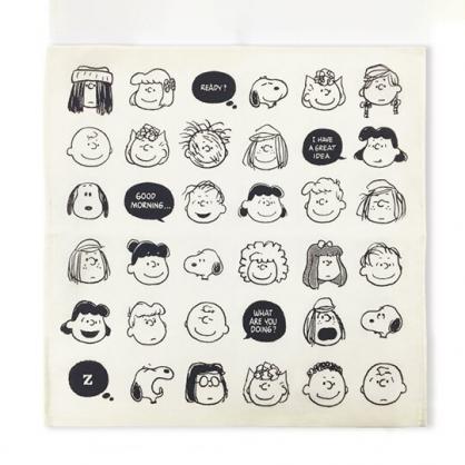 小禮堂 史努比 日製 折疊純棉紗布環保購物袋 紗布手帕 環保袋 手提袋 HorB (米 大臉)