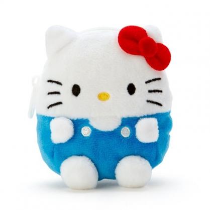 小禮堂 Hello Kitty 造型絨毛零錢包 玩偶零錢包 圓形零錢包 耳機包 (藍 全身)