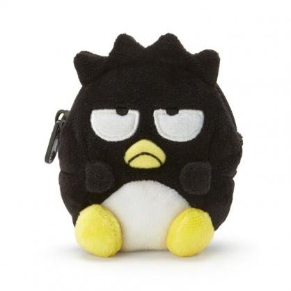 小禮堂 酷企鵝 造型絨毛零錢包 玩偶零錢包 圓形零錢包 耳機包 (黑 全身)