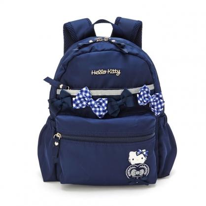 小禮堂 Hello Kitty 尼龍雙層後背包 防潑水後背包 休閒背包 書包 5L (深藍 緞帶)