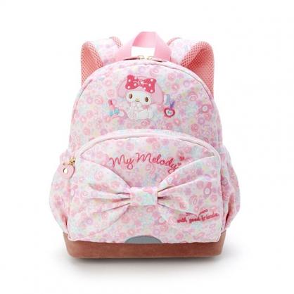 小禮堂 美樂蒂 尼龍雙層後背包 防潑水後背包 休閒背包 書包 5L (粉棕 蝴蝶結)